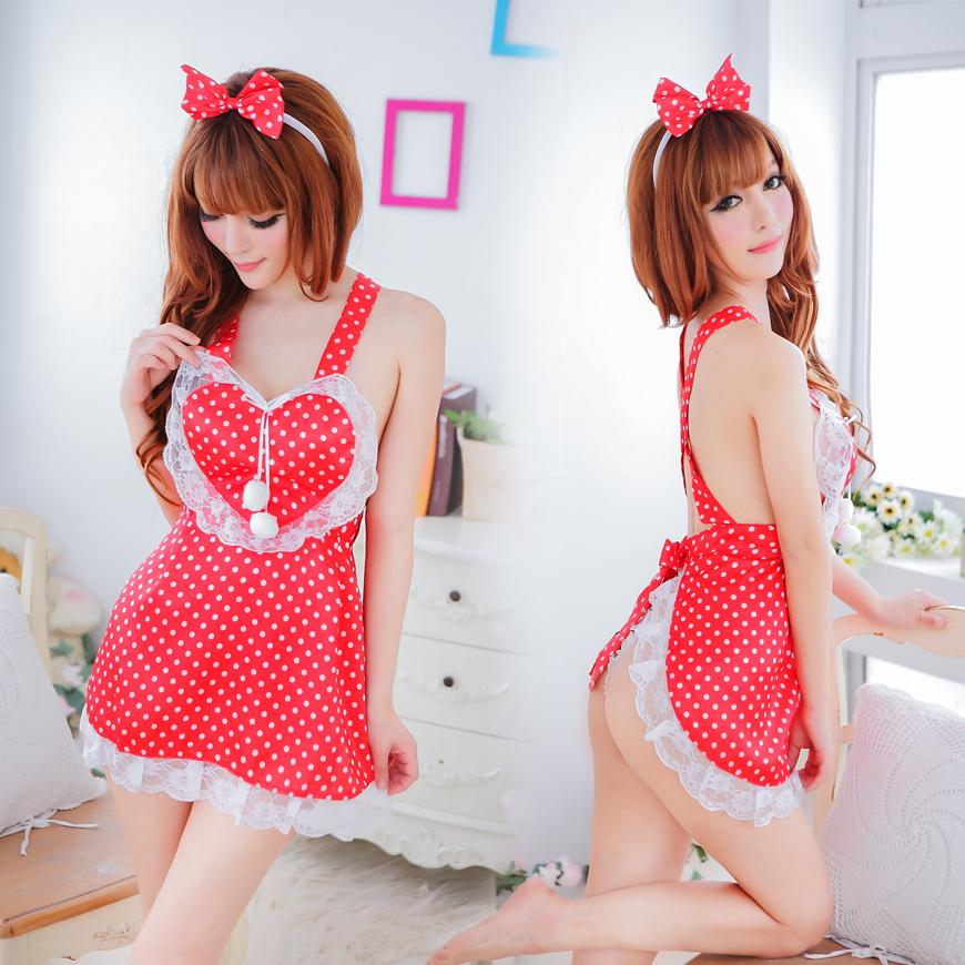 SC604 ชุดนอนเซ็กซี่ ซีทรู คอสเพลย์สาวใช้ สีแดงร้อนแรง ขยี้ใจ [พร้อมส่ง]