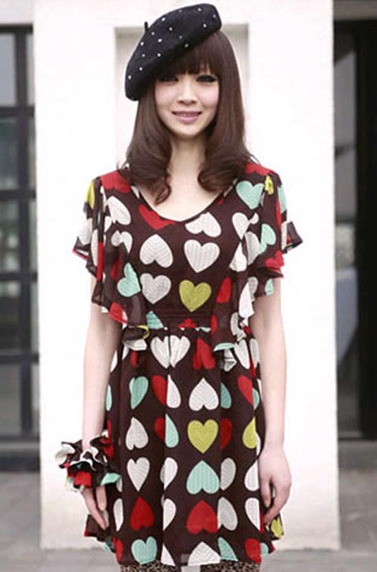 ++เสื้อผ้าไซส์ใหญ่++* Pre-Order* ชุดเดรสเกาหลีไซส์ใหญ่ แต่งแขนระบายลายรูปหัวใจ