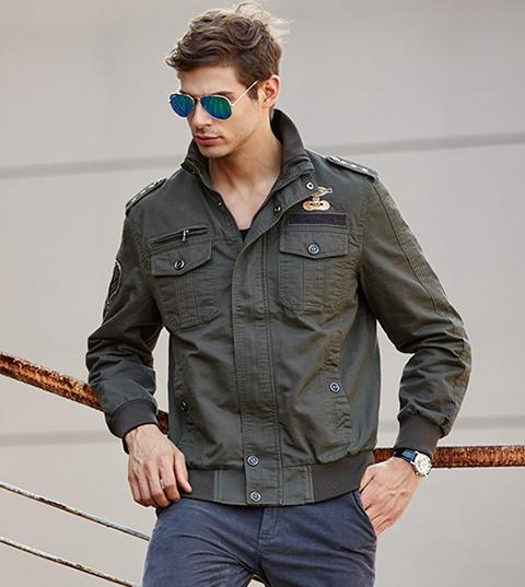 Pre Order เสื้อแจ็คเก็ตผู้ชายสไตล์กองทัพ แขนยาวคอปก บ่าแต่งดาว 3 ดาว มี3สี