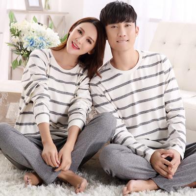 Pre Order ชุดนอนคู่รักแฟชั่น เสื้อยืดคอกลมแขนยาวลายขวาง+กางเกงขายาว สีตามรูป