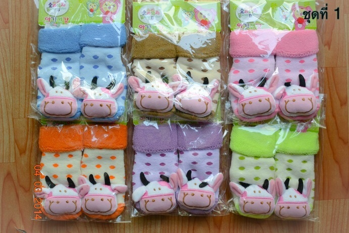 U024-1**พร้อมส่ง**(ปลีก+ส่ง) ถุงเท้าเด็กวัย 1-3 ขวบ ติดหัวสัตว์ พับข้อ มีเสียงกุ๊งกิ๊ง และมีกันลื่น เนื้อดี งานนำเข้า (Made in China)