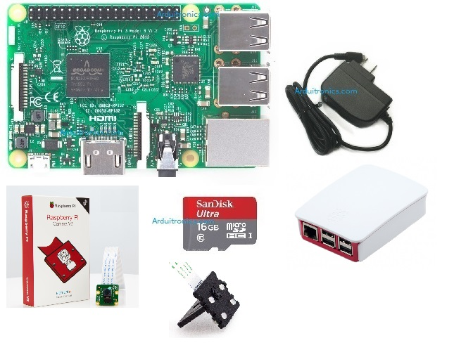 Raspberry Pi Deluxe Set with Camera V2 / Case / Mount