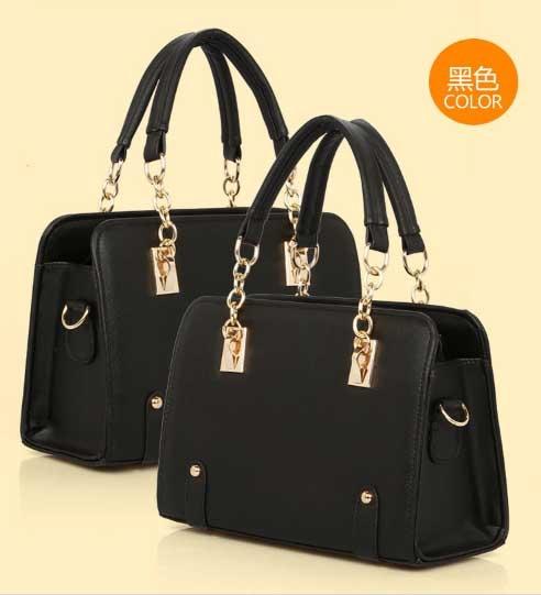 Pre-order กระเป๋าถือและสะพายข้าง หรูหรา เรียบง่าย แฟชั่นเกาหลี รหัส KO-6866 สีดำ