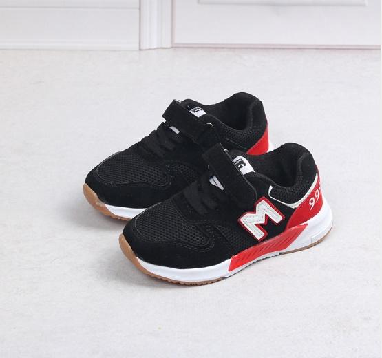 รองเท้าผ้าใบ#รองเท้ากีฬา#แบบแปะเมจิกเทป#ลายตัวM/สีดำ