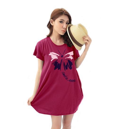เสื้อยืดแฟชั่นตัวยาว /แซกสั้น ทรงสวย ผ้านุ่ม ลาย Butterfly Smile สีชมพูบานเย็น