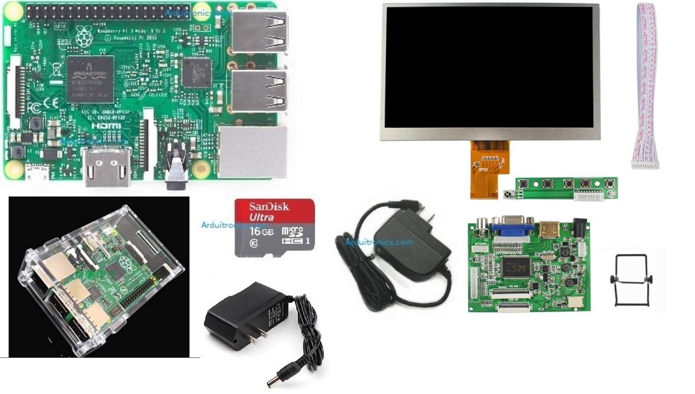 ชุด Raspberry Pi 3 Model B พร้อมจอ 7 inch HD Desktop Display for Raspberry  Pi + Rack (Version 2)