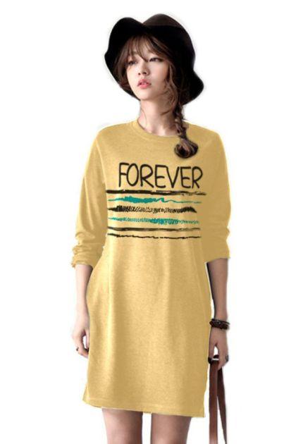เสื้อยืดตัวยาว /แซกสั้น ผ้านุ่ม แขนยาว ลาย Forever (สีเหลือง)