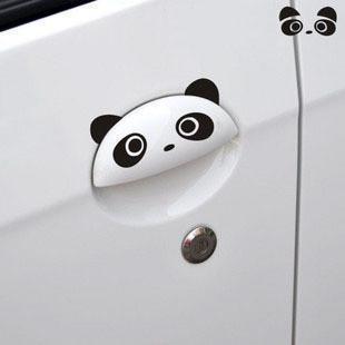 สติ๊กเกอร์แต่งรถยนต์ panda ติดมือเปิดประตูรถสีดำ 9x4.5cm 1pack/2ชิ้น