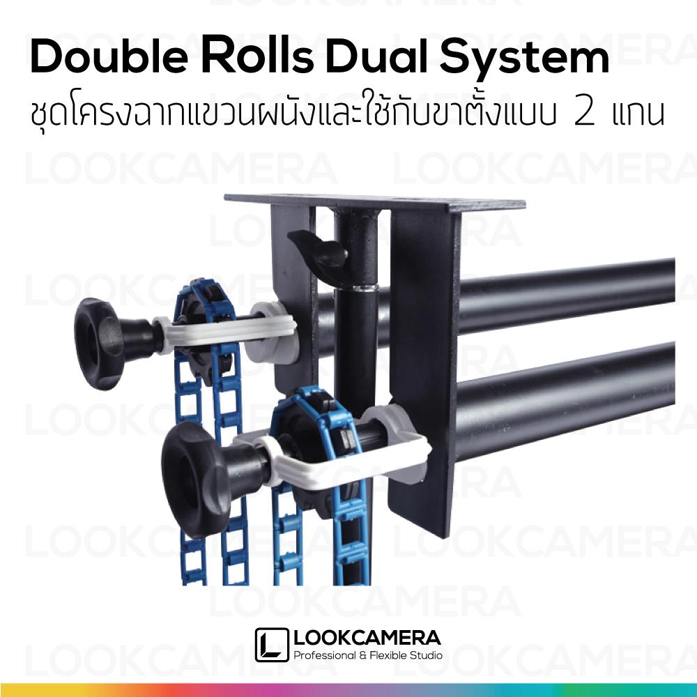 ชุดโครงฉากแขวนผนังและใช้กับขาตั้งแบบ 2 แกน Double Rolls Dual System