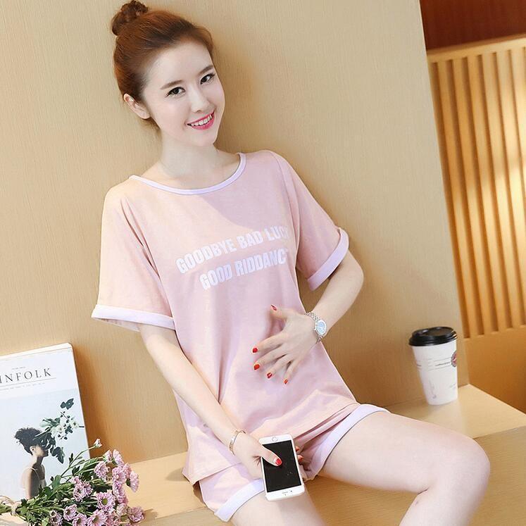 ชุดเซ็ตเสื้อยืดสีชมพู+กางเกงพยุงหน้าท้องสีชมพูเอวปรับระดับได้ น่ารักมากค่ะ