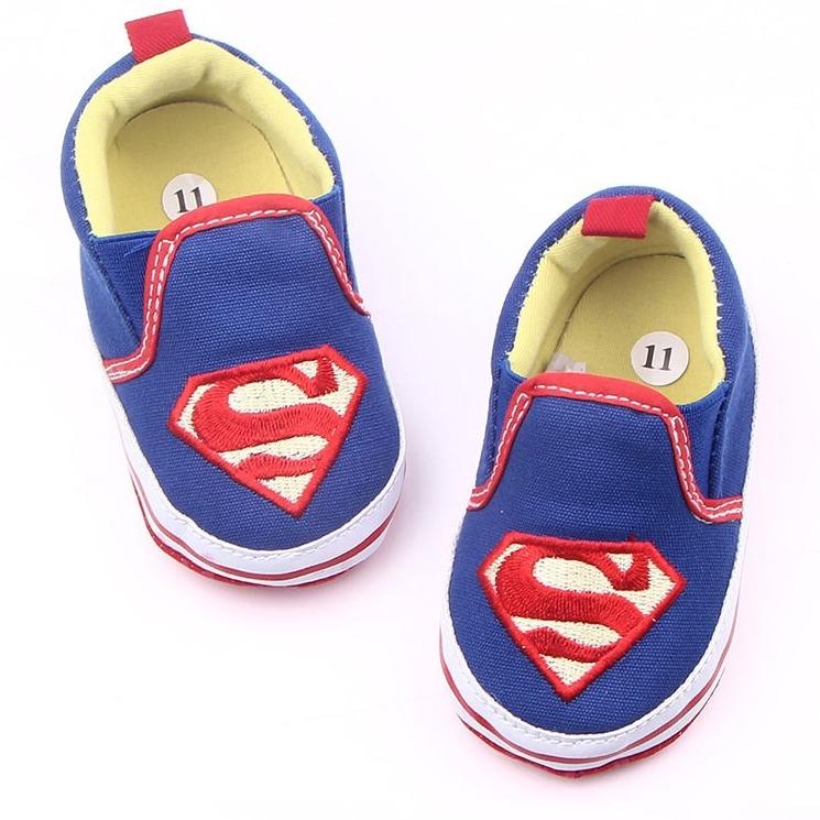 รองเท้าเด็กอ่อน 0-12เดือน รองเท้าเด็กชาย เด็กหญิง ลาย Super MAN