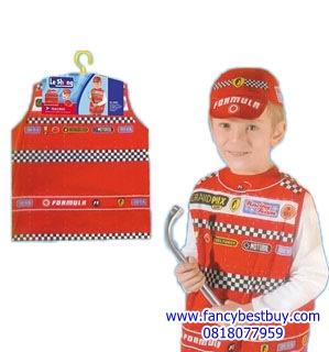 ชุดนักขับรถแข่ง Car Racing Driver แบบผ้าพิมพ์ลาย ใช้ได้ทั้งเด็กชายและเด็กหญิง (เสื้อ+หมวก ) ขนาดฟรีไซด์ สำหรับเด็ก 90-125 ซม. อายุ 3-7 ขวบ