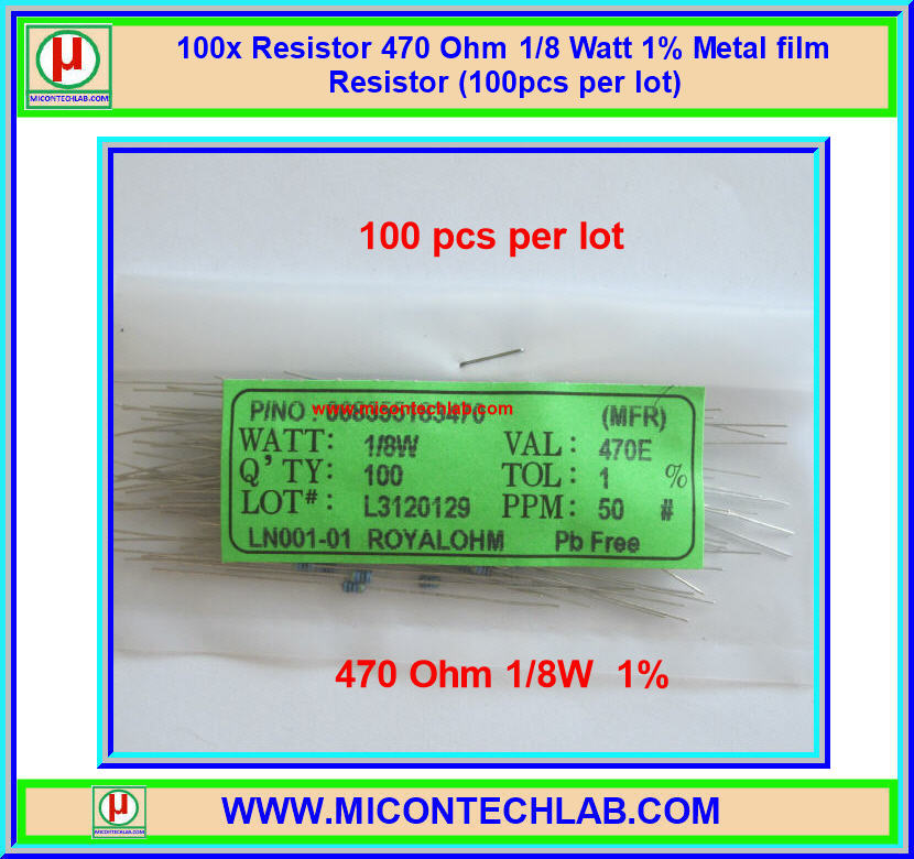 100x Resistor 470 Ohm 1/8 Watt 1% Metal film Resistor (100pcs per lot)