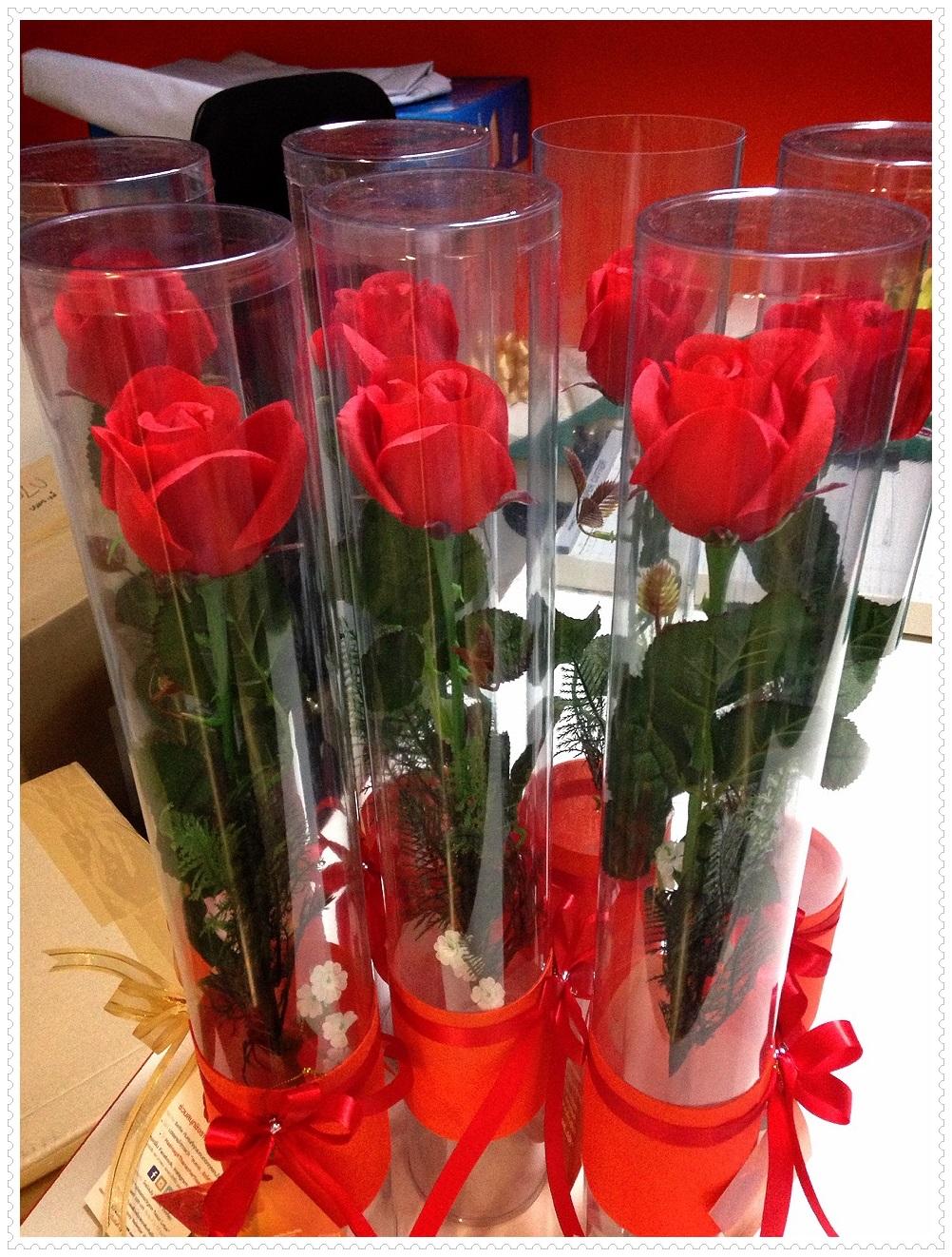 กล่องกลมใส่ดอกไม้ เส้นผ่าศูนย์กลาง 7.5 cm x 45 cm