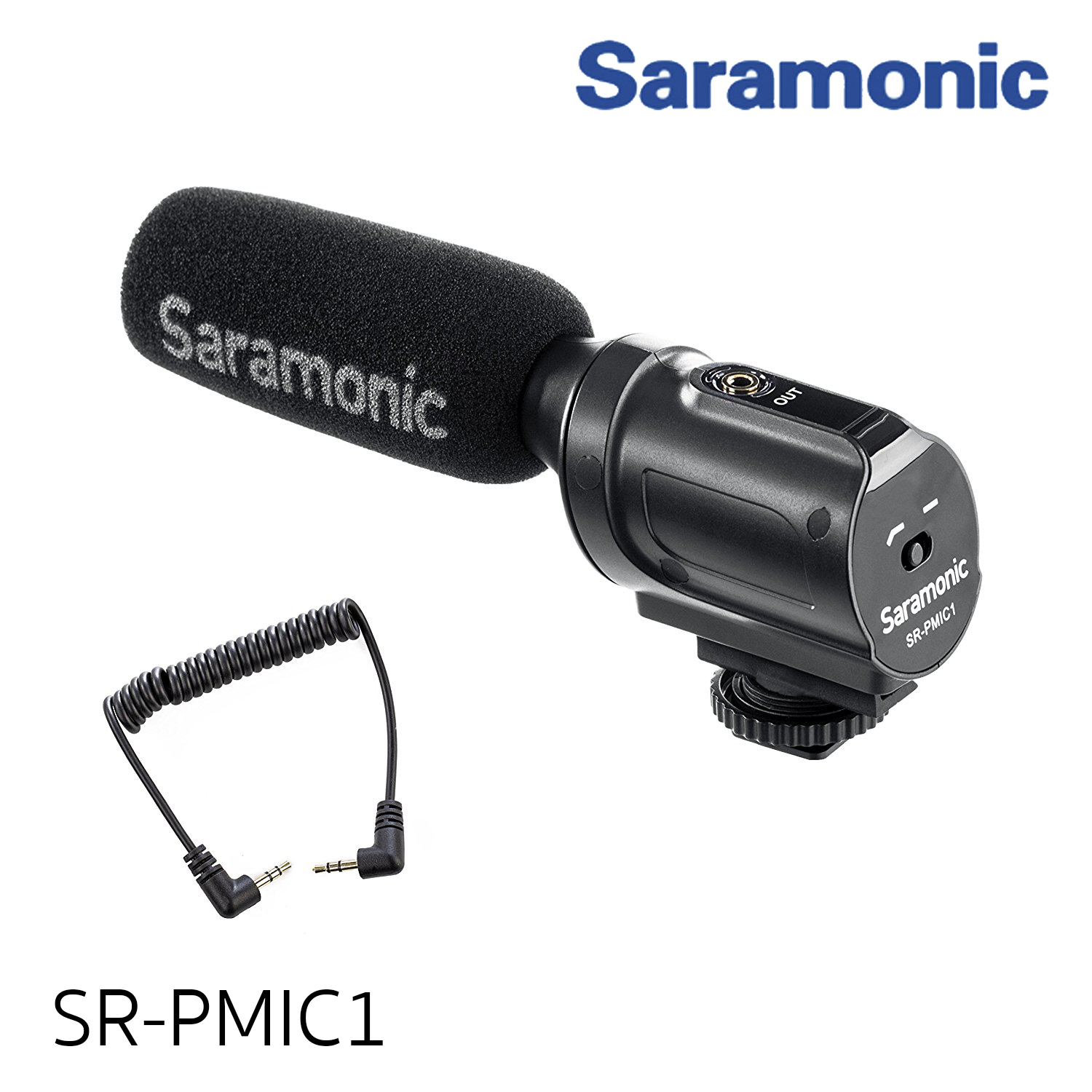 Saramonic SR-PMIC1 Super-Cardioid Unidirectional Condenser Microphone with Integrated Shockmount, Low-Cut Filter & Battery-Free Operation for DSLR Cameras & Camcorders