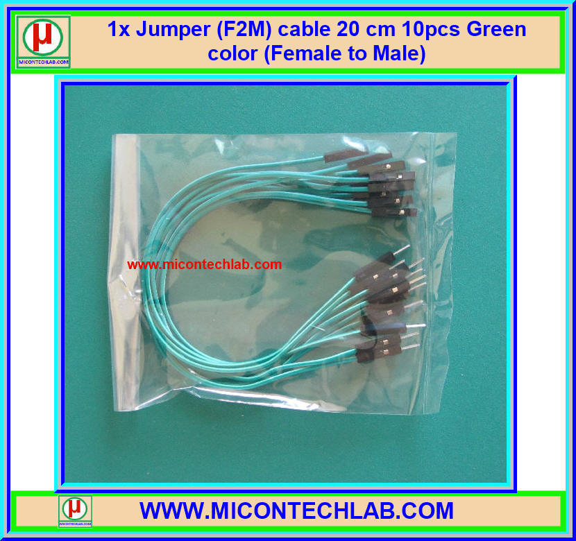 1x Jumper (F2M) cable 20 cm 10pcs Green color (Female to Male)