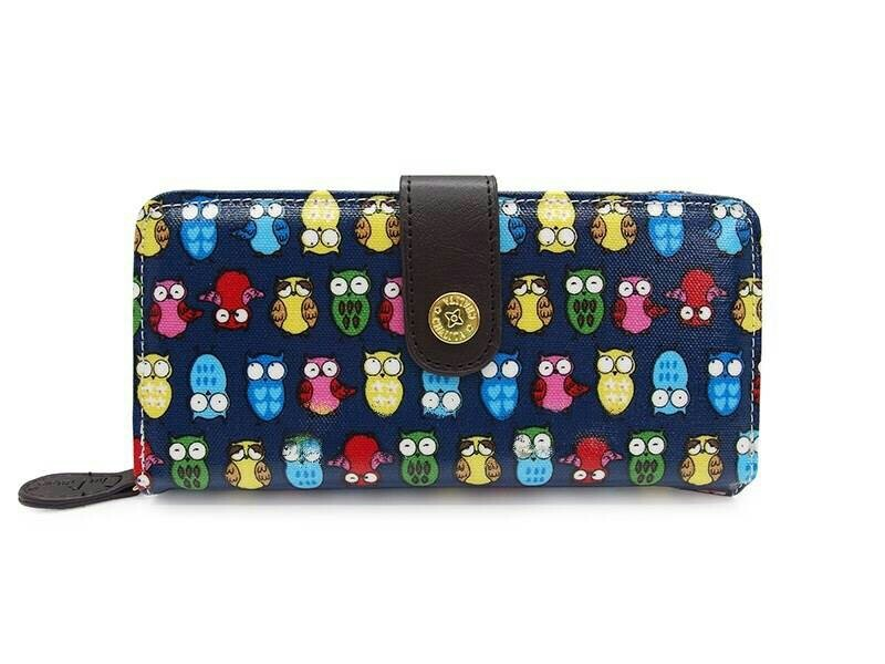 กระเป๋าสตางค์ Chalita wu สีน้ำเงิน ลายนกฮูก