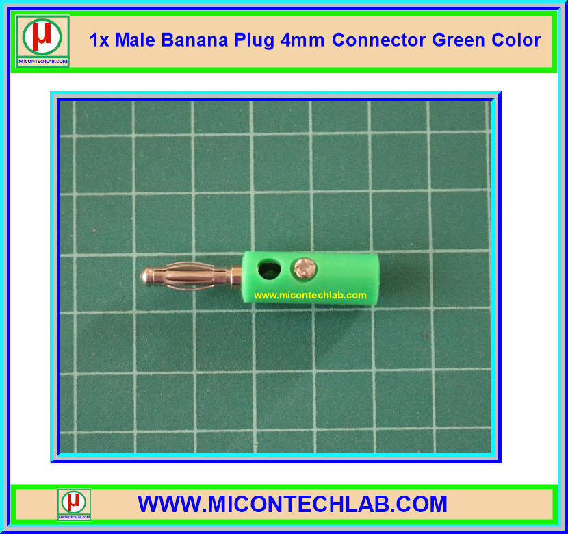 1x Male Banana Plug 4mm Connector Green Color
