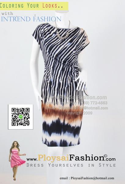 hd1861 - ชุดเดรส ผ้าเกาหลีแขนล้ำพิมพ์ลายเชิง แต่งจีบช่วงเอวด้านข้างพร้อมผูกโบว์ สวยดูดีค่ะ