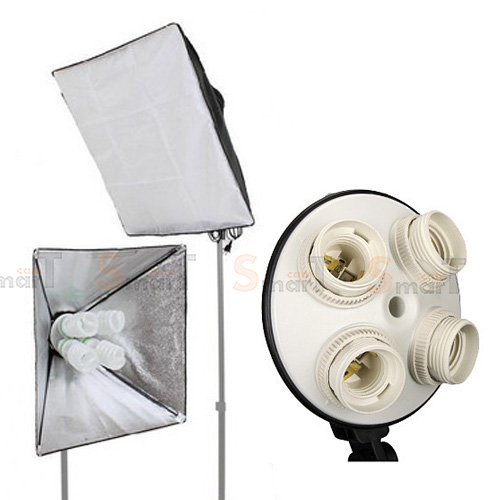 Continuous Lighting E27 Bulb x4 Holder With Softbox 50x70cm (Prastic Holder)