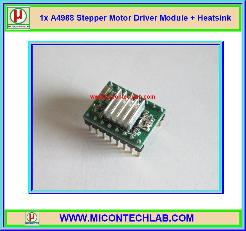 1x แผงวงจรขับสเตปมอเตอร์ A4988 Stepper Motor Driver + Heatsink