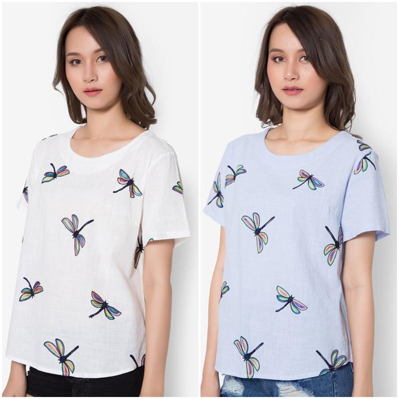 เสื้อเบลาส์ Colourful Dragonfly