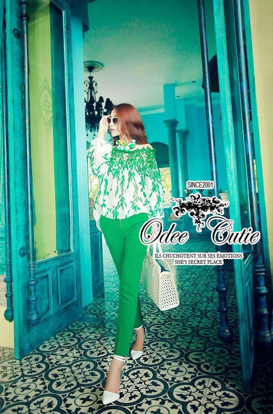 Odee Cutie ชุดเซ็ทเสื้อกับกางเกงขายาว โทนสีเขียว