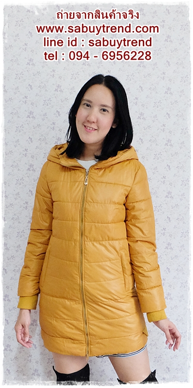 ((ขายแล้วครับ))((คุณYorจองครับ))ca-2611 เสื้อโค้ทกันหนาวผ้าร่มสีเหลืองมัสตาร์ด รอบอก37