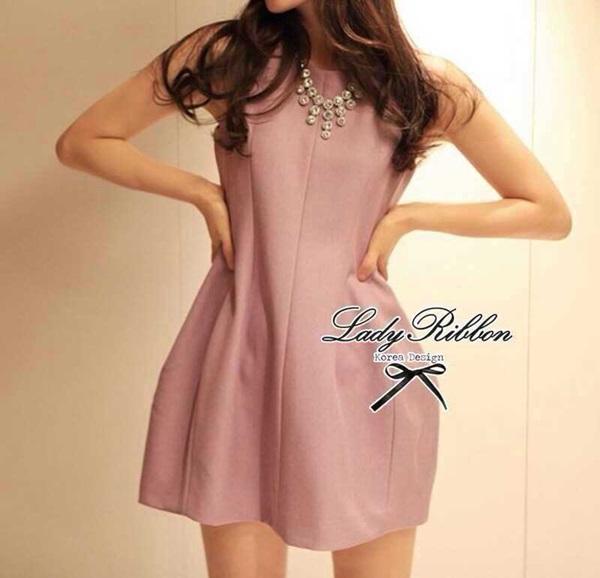 Lady Ribbon Viola Mini Dress มินิเดรสแขนกุด สีม่วง ลุคคุณหนู